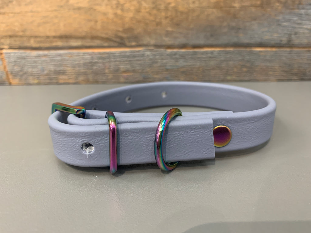 Halfling Biothane Collar - Grey with Gasoline Rainbow Hardware (X-Small Only)
