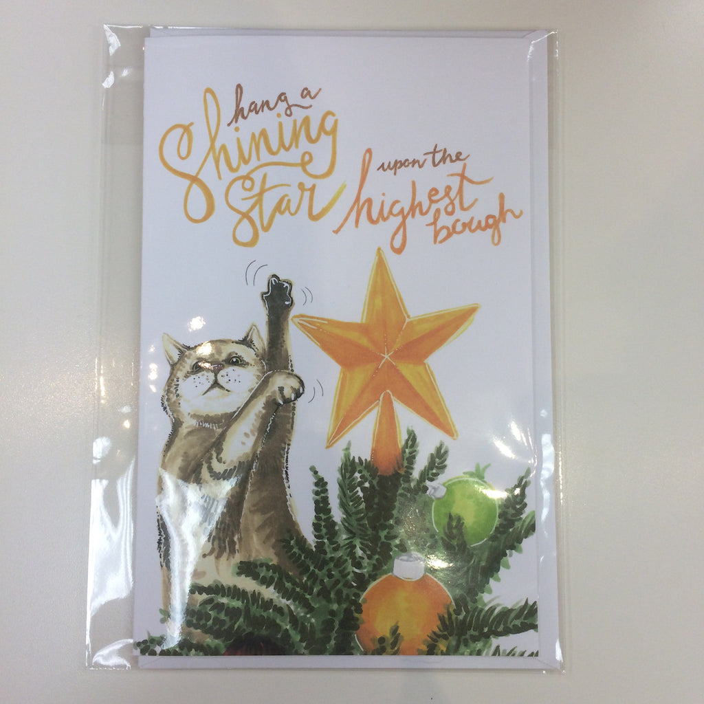 Becky Warren Holiday Greeting Card - Hang a Shining Star Kitty