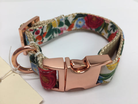 Colourful Floral Dog Collar with Rose Gold Buckle