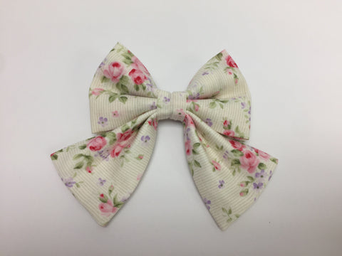 White Floral Sailor Bow Tie