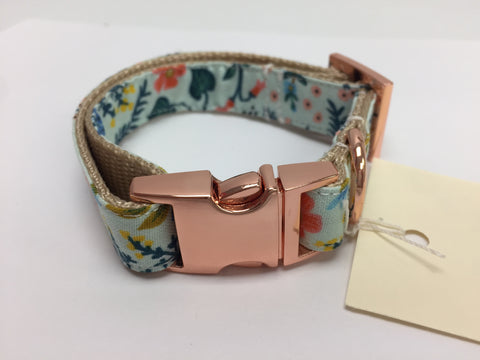 Seafoam Floral Dog Collar with Rose Gold Buckle