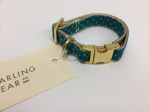 Teal Polka Dot Dog Collar