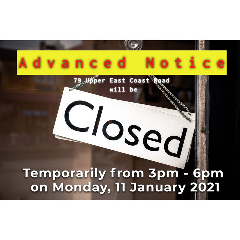 Temporarily Closing Annoucement on 11 Jan 2021.