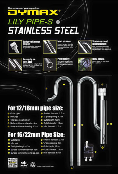 Dymax Stainless Steel Lily Pipe With Surface Skimmer