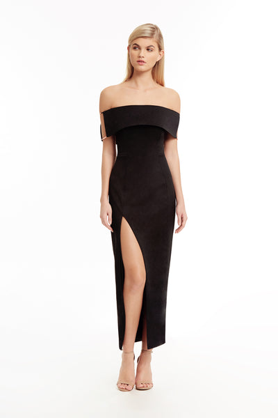 Lana Off The Shoulder Dress in Noir
