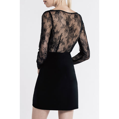 Allende Long Sleeve Dress in Noir