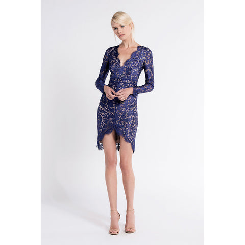 Adelie Long Sleeve Dress in Neptune