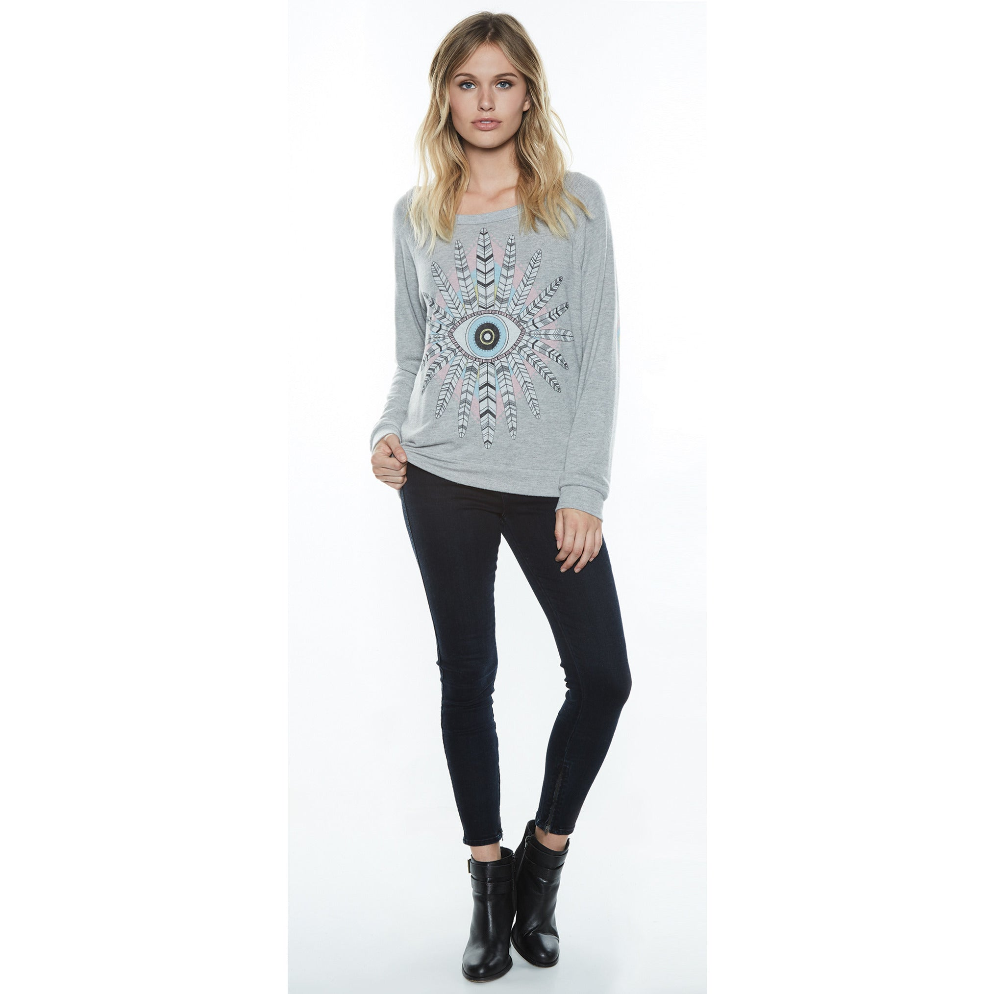 Brenna Pullover Diamond Feather Eye in Heather Grey