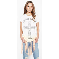 Endless Sage Short Sleeve Fringe Tee in Sunrise