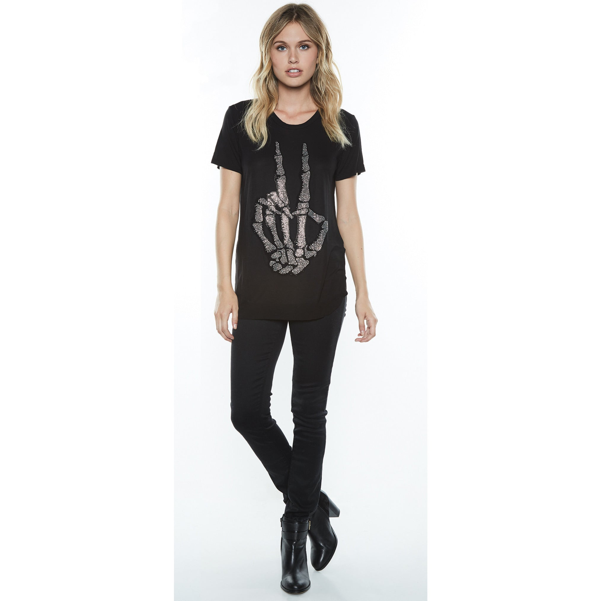 Kelis Short Sleeve Scooped Hem Crystal Skeleton Peace in Black