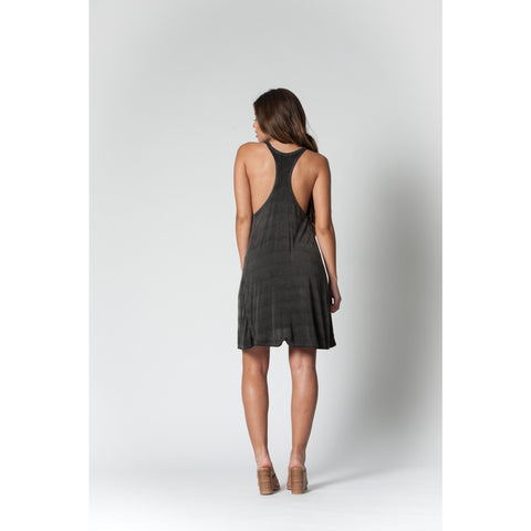 Happy Oversized Racerback Dress in Black Oil Wash