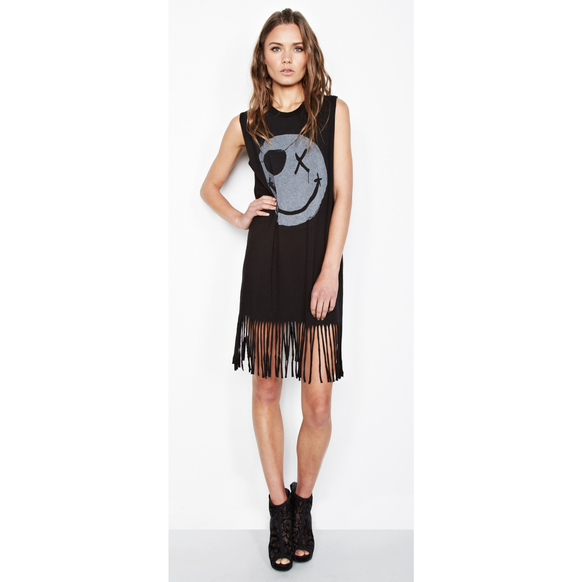 Gin Sleeveless Fringe Shirt Dress in Black