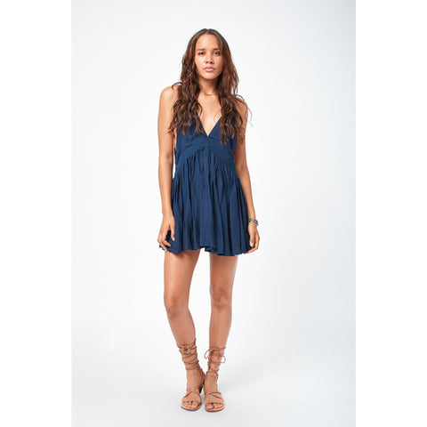 Dream Solid Chiffon Camisole Mini Dress in Sapphire