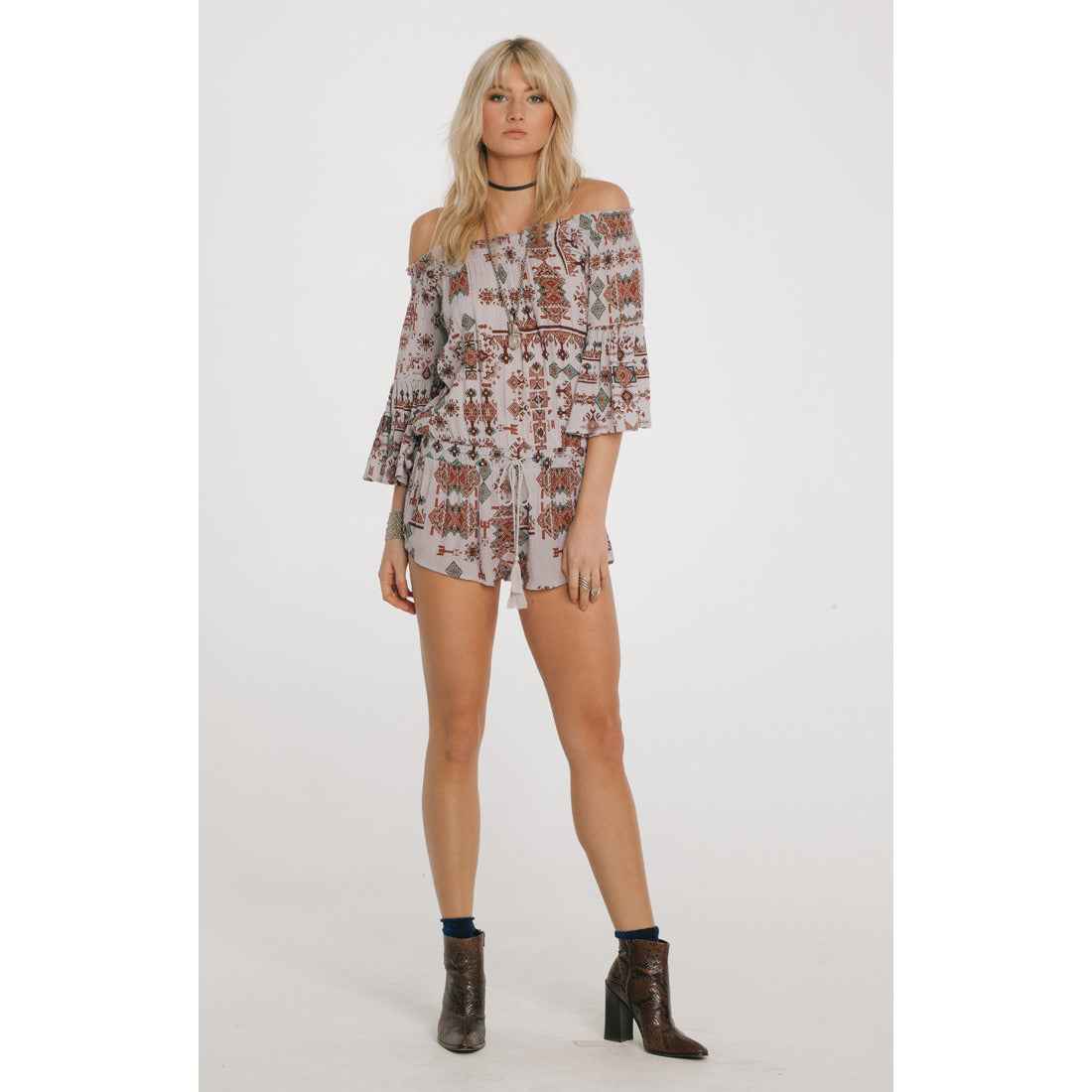 Native Dreams Romper in Grey