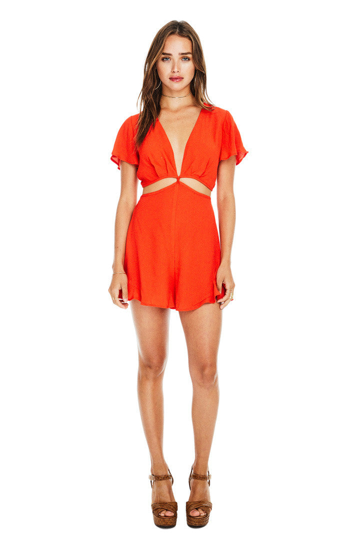 Viviana Romper in Hot Red