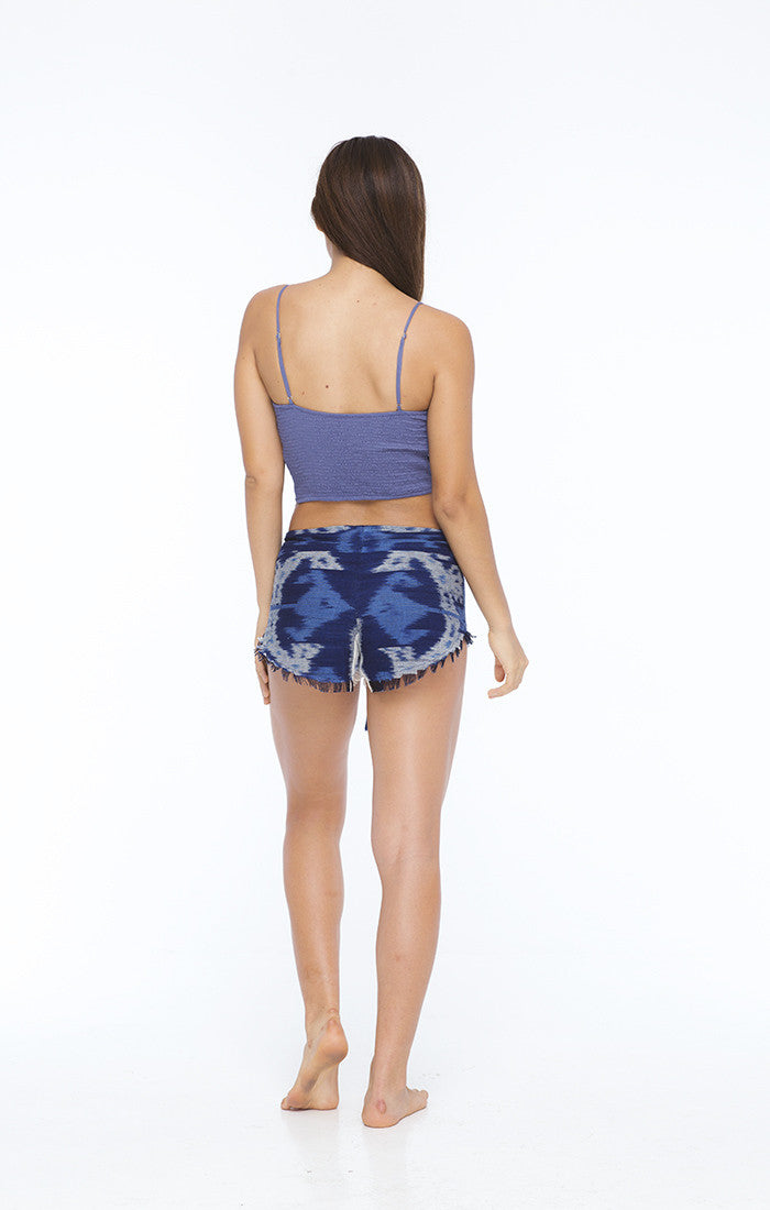 Stones Ikat Lace Up Shorts in Ikat Blue