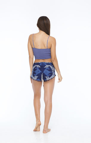 Camilla Ikat Smocked Back Underwire Crop in Ikat Blue