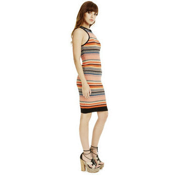 Barcelona Dress in Orange Multi Stripe