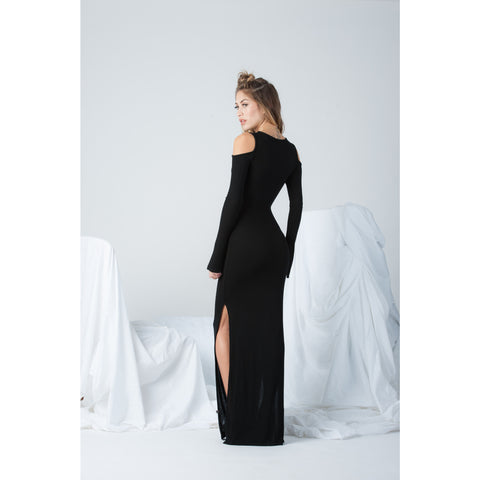 Cold Shoulder Long Sleeve Dress in Black