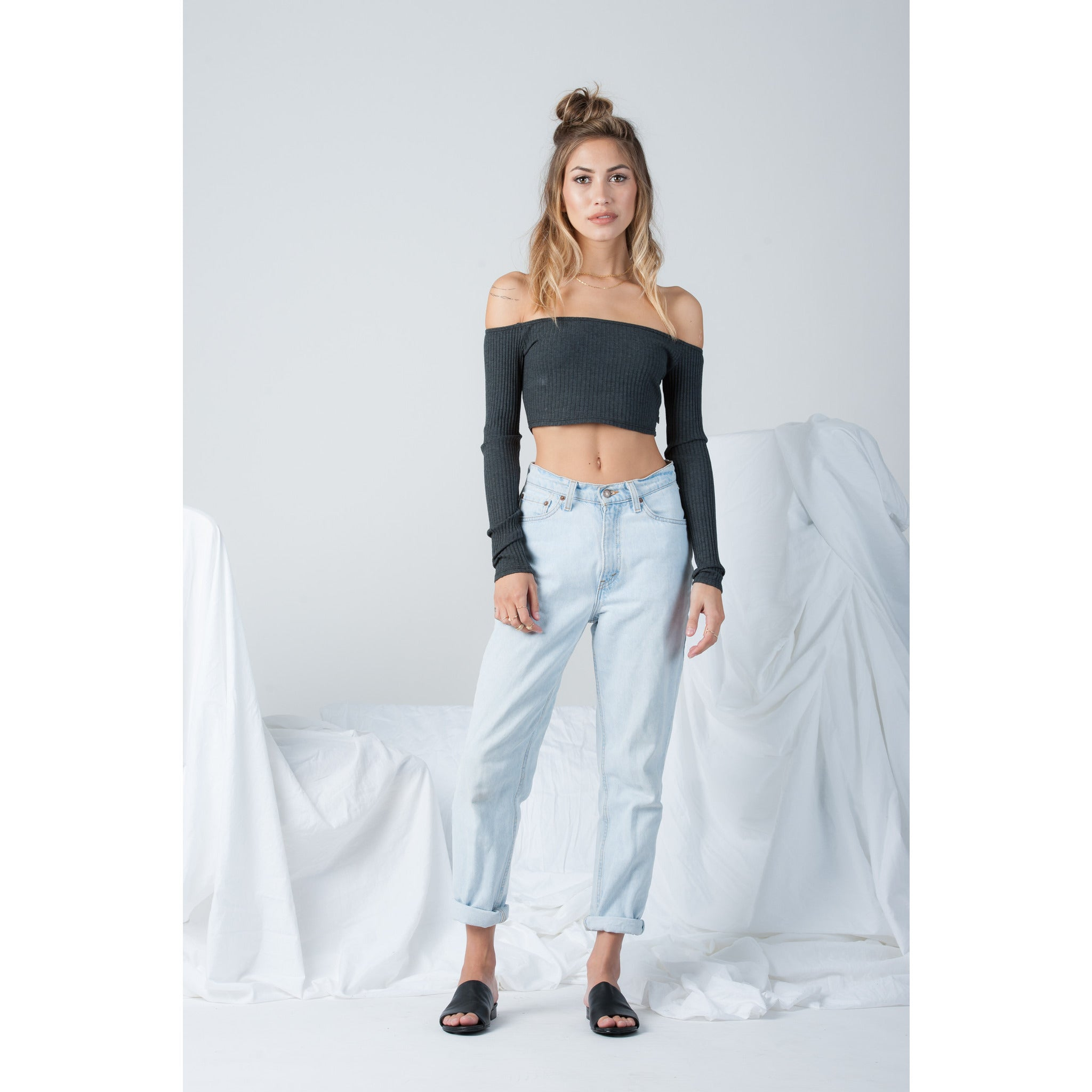 Long Sleeve Off Shoulder Crop Top in Dark Grey