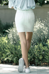 Slim Fit Denim Skirt in White