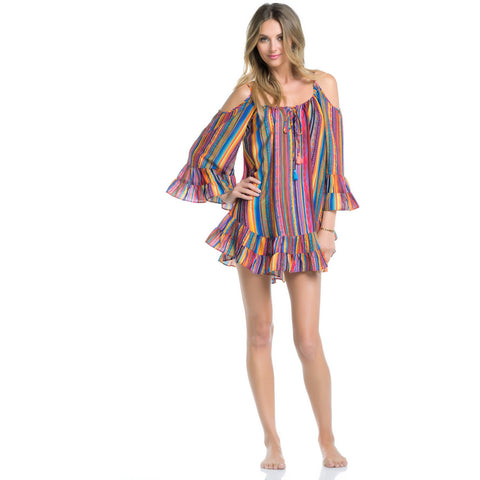 Bahia Coast Ruffle Cold Shoulder Dress (FINAL SALE)