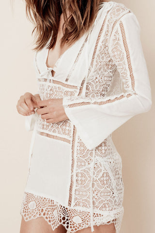 Caracas Lace Mini Dress in White