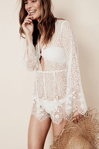 Caracas Lace Romper in White