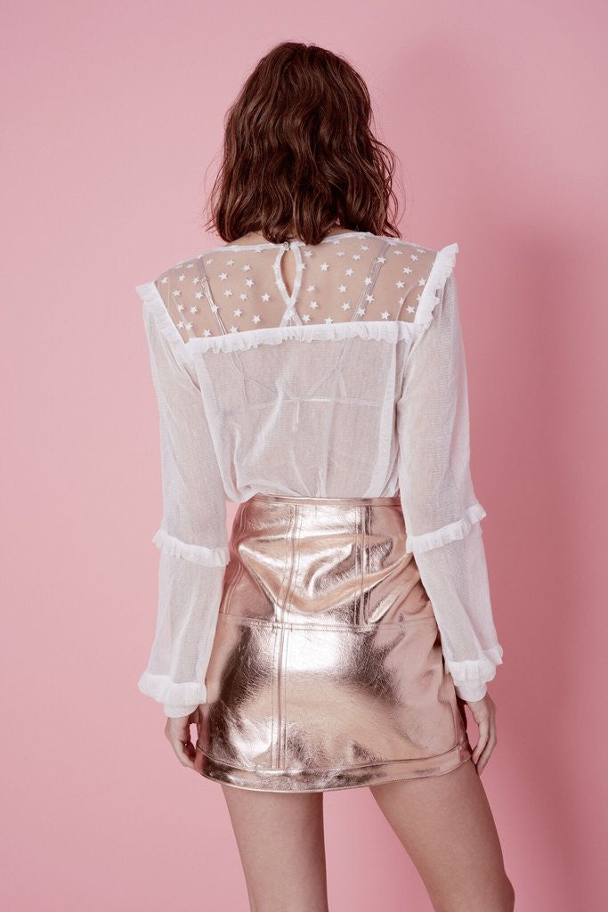 Luna Metallic Skirt in Gold