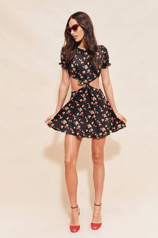 Cherry Waist Cut Out Dress in Cherry Noir