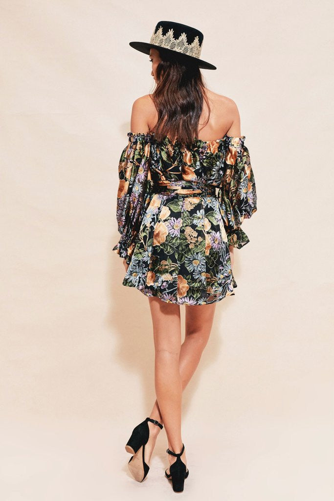 Luciana Strapless Dress in Black Floral
