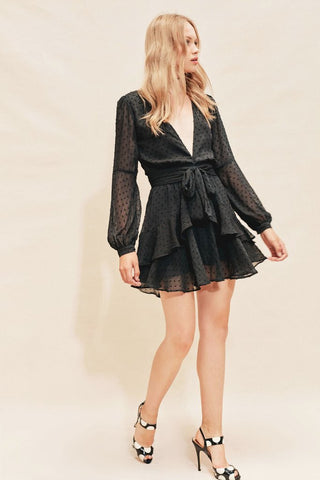 Tarta Long Sleeve Mini Dress in Noir Dot