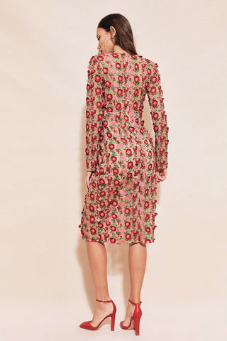 Amelia Textured Midi Dress in Rosebed
