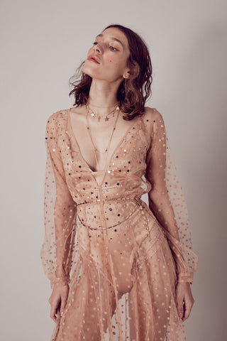 All That Glitters Maxi Dress in Almond