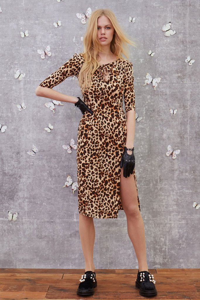 Leo Print Midi Dress in Leopard