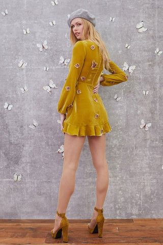 Papillion Mini Dress in Dark Goldenrod