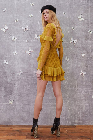 Daphne Lace Mini Dress in Chartreuse