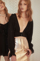 Disco Baby Gold Foil Blouse in Black Stars