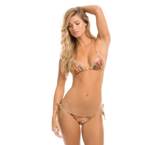 Festival Tie Side Brazil Bikini Bottom in Desert