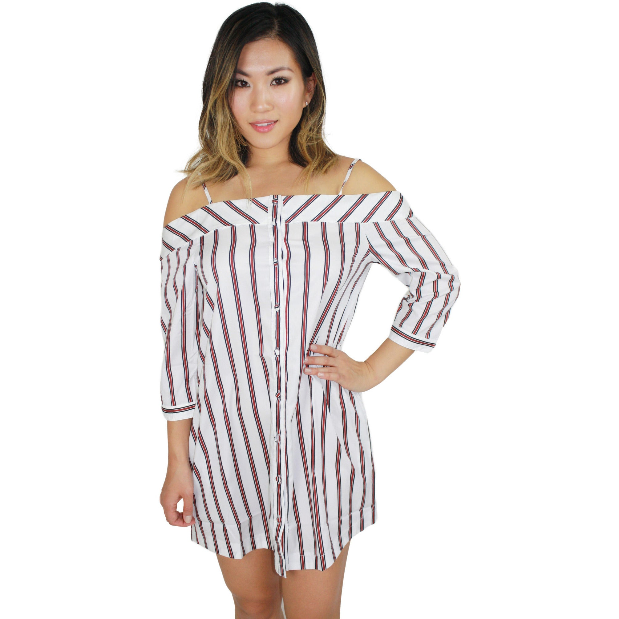Striped Button Down Dress in Burgundy Stripe