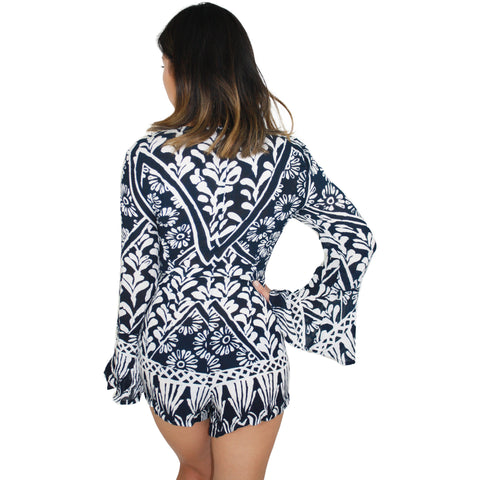 Tropic Blues Romper in Navy