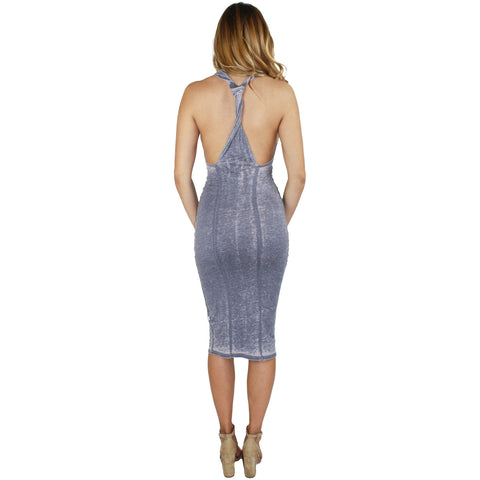 Darby Twist Back Midi Dress in Lilac Wash