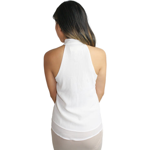 Cinthia Tie Neck Blouse in White