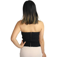 Mother of Pearl Bustier in Black Lace
