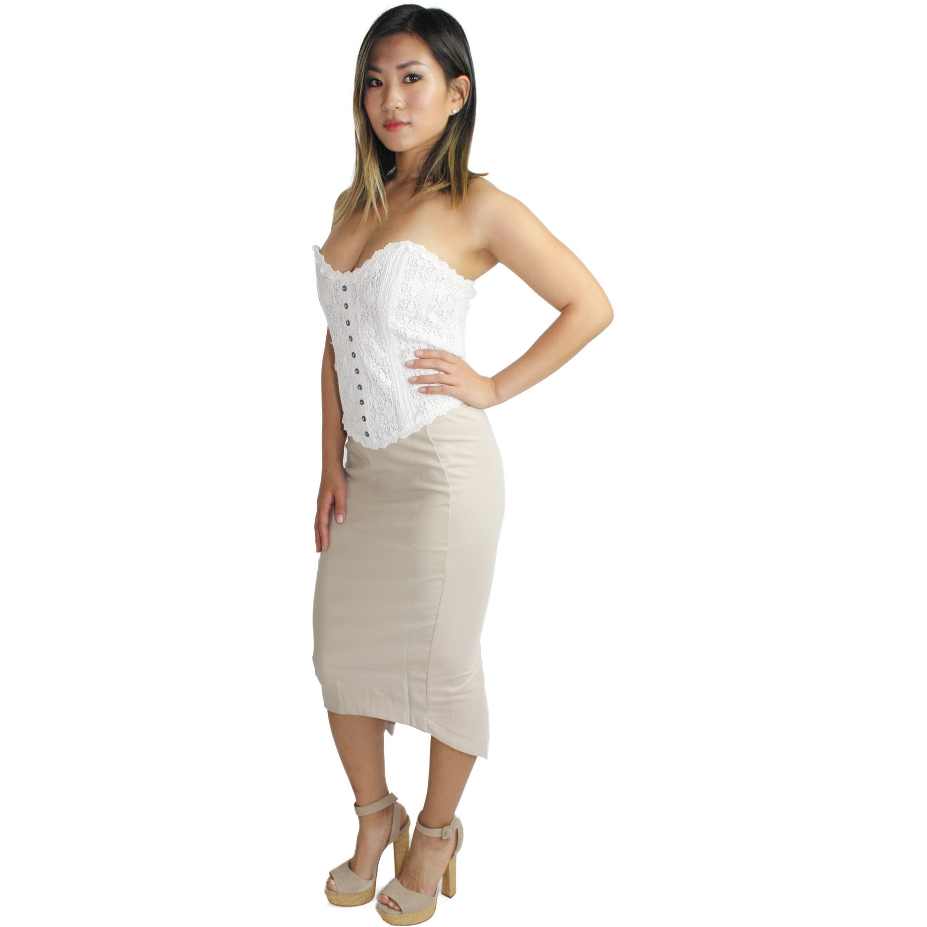 Mother of Pearl Bustier in Off White Lace