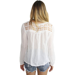 Jessie Contrast Lace Trimmed Blouse in White