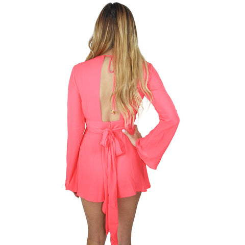 Elle Deep V Playsuit in Neon Coral