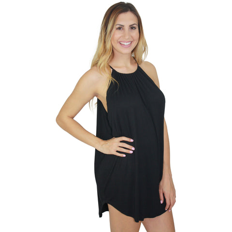 Lanette Halter Neck Scoop Side Dress in Black