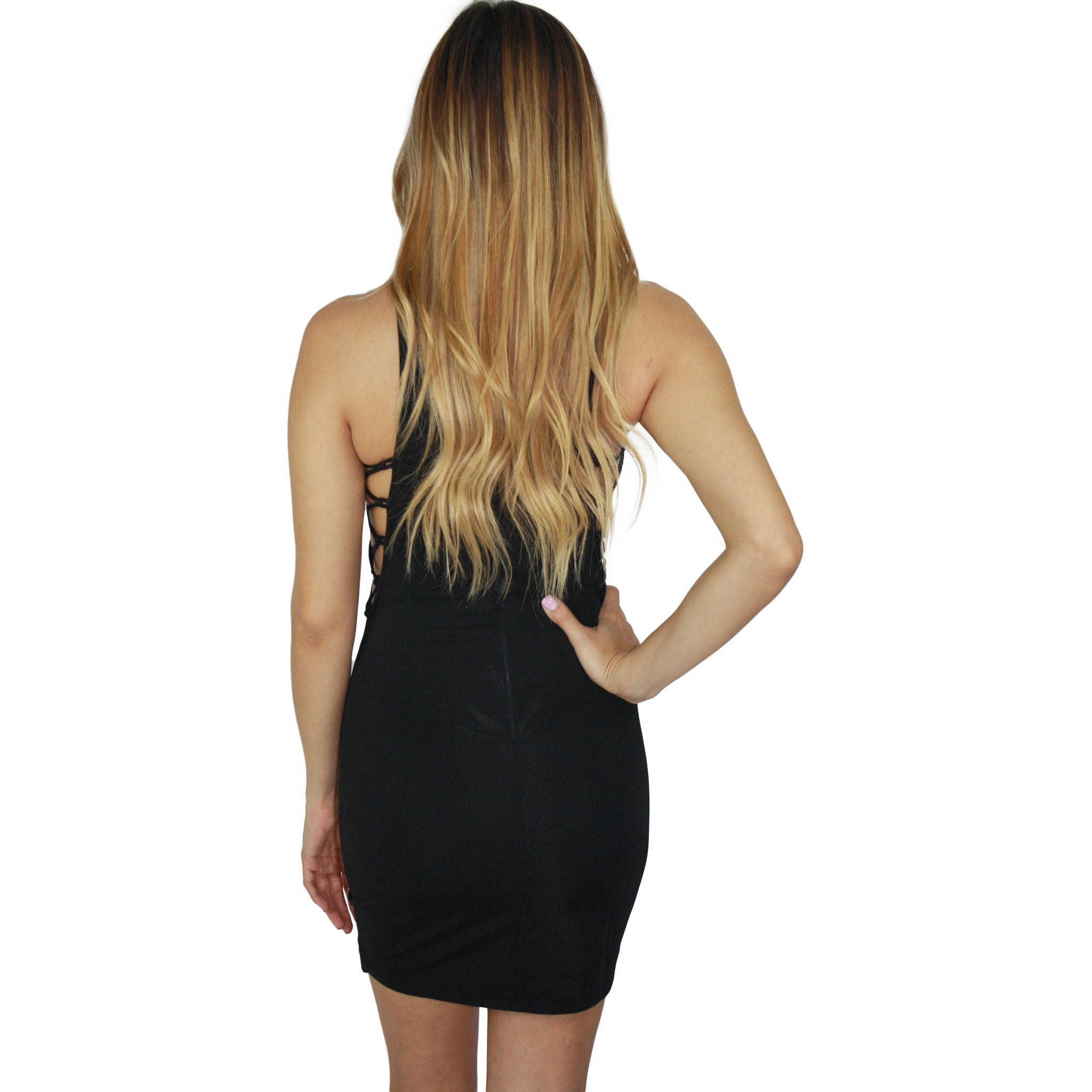 Tayler Cross Side Mini Dress in Black