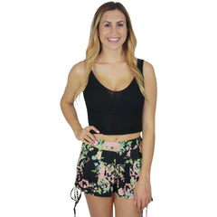 Ramie Knit Crop Top in Black